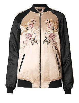 Ladies Floral Embroidered Bomber Jacket Rrp £65 Marks & Spencer Per Una New