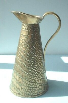 "Antique Crocodile Patterned Brass Jug / vase  10.25""  or 26 cm.high"