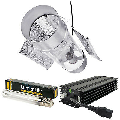 """Hydroponics Lumii BLACK 600w HPS Air Cooled Cooltube 6"""" Dimmable Grow Light Kit"""