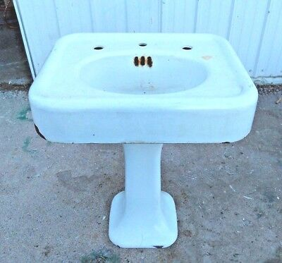 Antique Cast Iron White Porcelain Pedestal Sink Old Vtg Lavatory