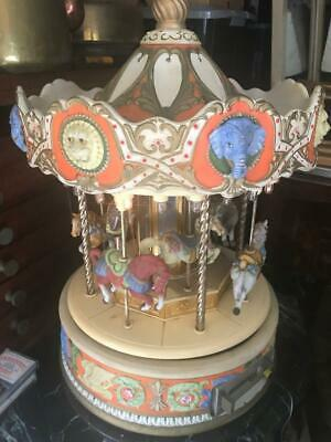 Vintage Antique Rare Musical Carousel With  Porcelain Horses & Cassette Player