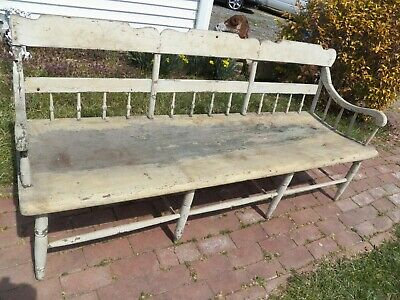 Antique White Painted Very Primitive Deacon Settee Wide plank seat Windsor Bench