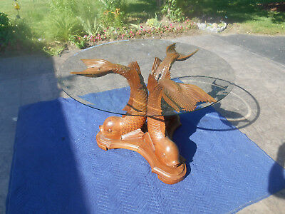 Vintage Hand Carved Triple Dolphin Serpent Center Lamp End Table French Regency