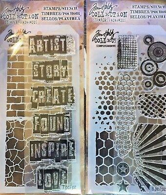 NEW Tim Holtz Stampers Anonymous Stamps & Stencil Sets Lot of 2 Card Journal ATC