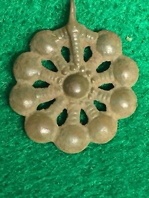 Ancient Roman Jewelry, Byzantine bronze pendant Flower Head Shaped