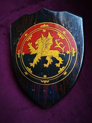 Victorian Hand Painted Golden Winged Lion (St Mark?) Armorial Shield 26cm x 20cm