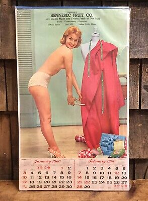 Vintage 1960s Pin Up Girl Grocery Store Advertising Calender Sign Kennebec Maine