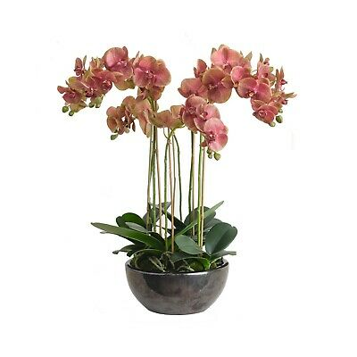 Artificial Pink Orchid Flower Arrangement Potted Centrepiece Plant Realistic