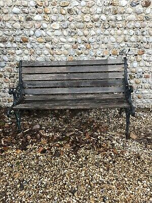 Old Vintage Garden Bench - With Cast Iron Bench Ends
