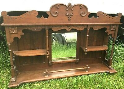 ANTIQUE Mirrored Etagere BACKBAR FIREPLACE MANTLE TABLE COUNTER TOP WALL SHELF