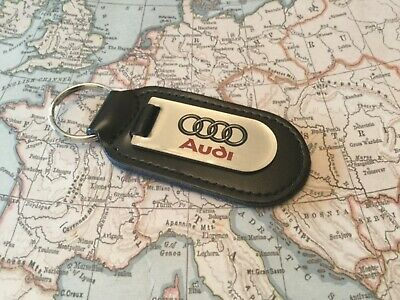 AUDI Black Real Leather Keyring  Printed  CLEAR A 1 2 3 4 5 6 7 8 R Q RS TT