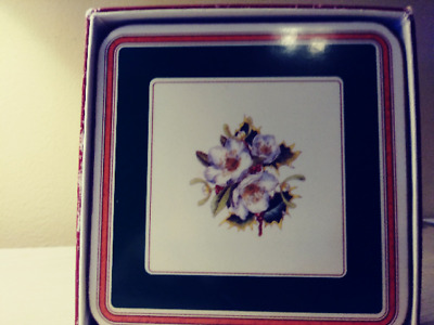 ** Spode England Set Of 5 Coasters - Christmas Rose - In Box - Guc