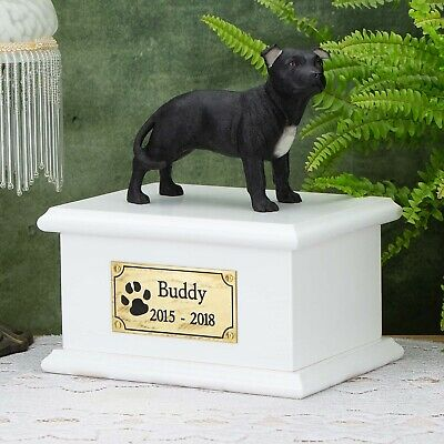 Solid Wood Dog White, Cremation Urn / Casket, Staffordshire Bull Terrier