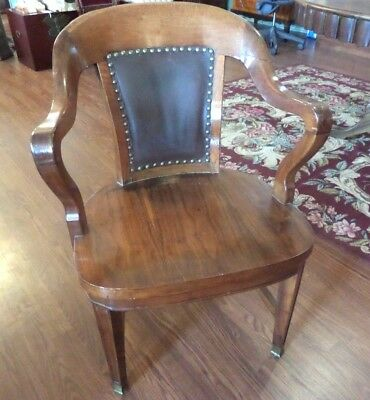 Antique Bankers Chair w/Leather Back  Doten Dunton Desk Co.