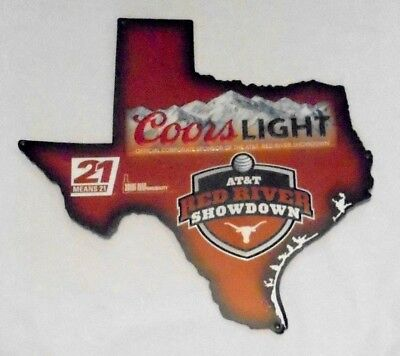 """University of Texas Red River Showdown Coors Light Beer Tin Sign 17"""" x 18"""" NEW"""