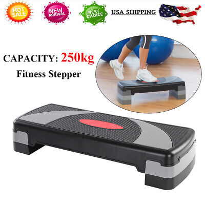 """31'' Exercise Aerobic Step Adjust 4"""" - 6"""" - 8"""" Fitness Stepper Workout W/ Risers"""