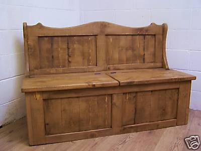 6FT WIDE 2 SEAT MONKS BENCH inc STORAGE IN OLD RUSTIC PINE WE CAN MAKE ANY SIZE