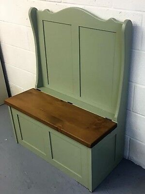 Lichen Farrow & Ball Painted Old Wood Solid Pine Monks Settle Bench With Storage