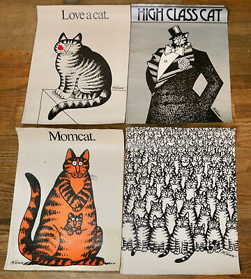 B.Kliban 1977 set of 4 cat posters distressed Workman pre-owned