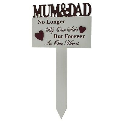 Mum & Dad Memorial Stick Graveside Decoration Tribute No Longer By Our Side