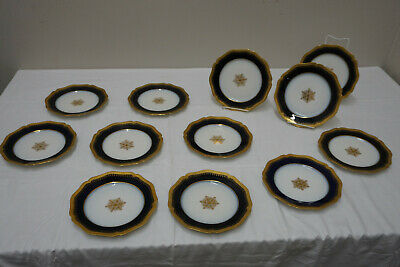 Set of 12 Antique Wm Guerin Co Blue Cobalt Gold Medallion Limoges France Plates.