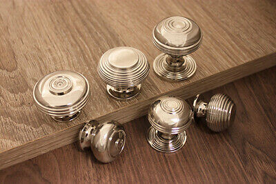 Solid Brass Nickel Finish Old Style Cabinet Drawer knobs Pulls 6 Styles & Sizes