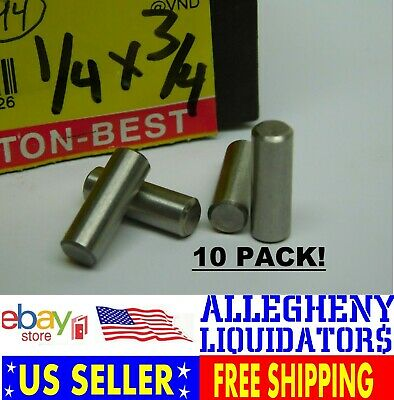 "10 PACK! 1//4/"" W x 3//4/"" Long Stainless Steel Dowel Pin Rod NH FREE SHIPPING!"