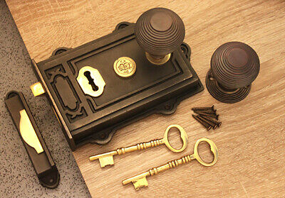 Old Vintage Style Door Knob Set Antique Cast Iron/Brass Davenport Door Rim Lock