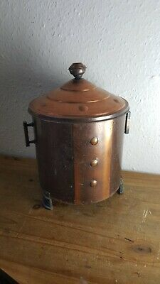 Vintage Decorative Arts & Craft Copper / Brass Log Or Coal Bucket ,Lidded 3 Legs