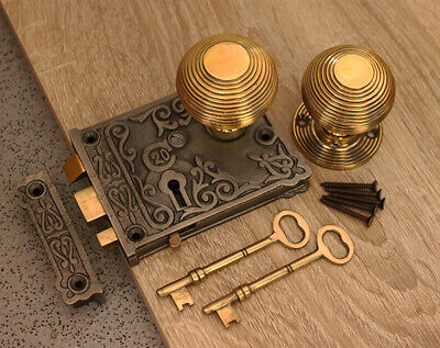 Brass Door Knob Set-Antique Cast Iron/Brass Door Rim Lock Floral Design