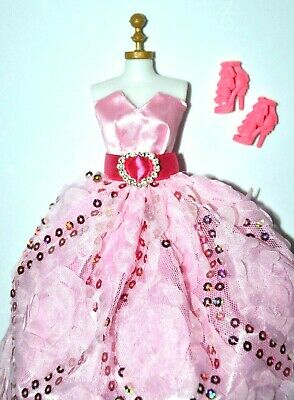 "Barbie Doll Clothes Lot Princess Pink Dress & Shoes Set for 11.5"" - 12"" Doll"