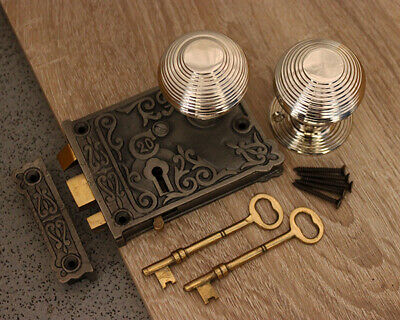 Nickel Door Knob Set-Antique Cast Iron/ Brass Door Rim Sash Lock 5 Design