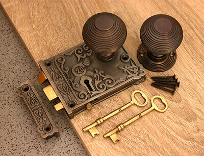 Aged Bronze Door Knob Set-Antique Cast Iron/Brass Door Rim Lock Floral Design