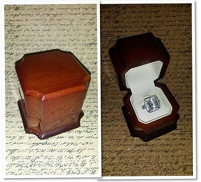 New Fancy Antique Genuine Marble Maple Wood Engagement Ring Gift Box