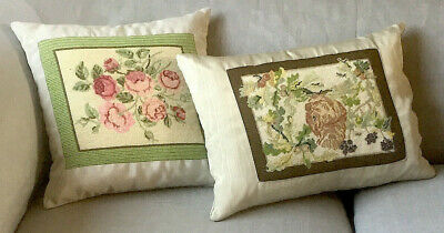 2 x Vintage Cushions Embroidered Needlepoint Tapestry ~ Roses, Squirrel Oak Tree