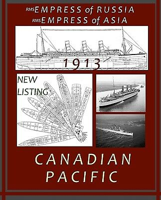 RMS EMPRESS OF RUSSIA / ASIA 1913 CP: Complete Retractable GA Deck Plans/Profile