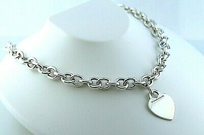 """Tiffany & Co. Heart Tag Pendant Chain Necklace in Sterling Silver 925 Size 16"""""""