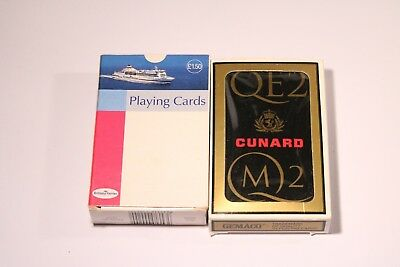 Vintage Qe2 Cunard M2 & Brittany Ferries Playing Cards Used Plastic Coated