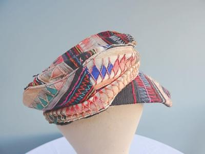 Vintage Afghanistan Hat Cap Mid 20th Century Embroidered Applique Detail