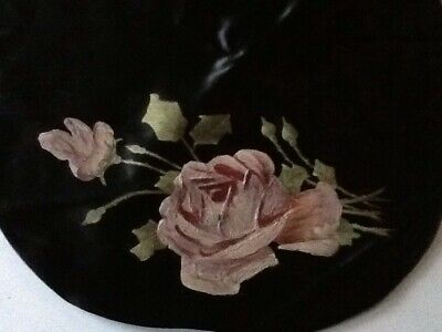Victorian Round Cushion Cover Hand Painted With Roses On Black Satin.