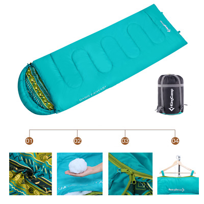 Envelope Sleeping Bag Lightweight Liner Cotton for Adults & Kids 3 Seasons Blue