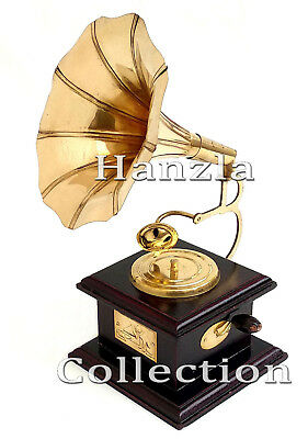 Antique Showpiece Handmade Decorative Vintage Brass Gramophone Retro Phonograph