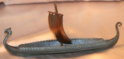 Vintage Viking Longboat Ship With Sail Bronze/Copper? Excellent No Stand Nordic