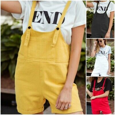 Womens Casual Dungaree Pants Summer Baggy Jumpsuit Romper Overalls Street Shorts