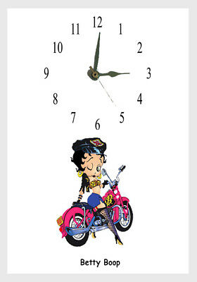 """Betty Boop Wall Clock 10/"""" Round Red  Rose Bouquet Wall Moutable"""