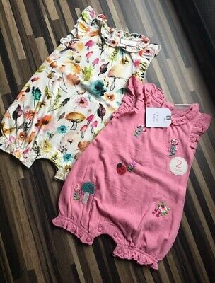 BNWT NEXT Baby Girls 3-6 Months Rompers Two Pack Floral Pink