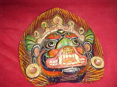 "Primitive Oriental Foo Dog Dragon Mask Reads Hand Made,   Wall Hanging 7"" By 7"""