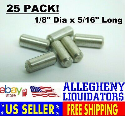"1//8/"" Dia x 7//16/"" Long Stainless Steel Dowel Pin Rod FREE SHIPPING 25 PACK! NH"