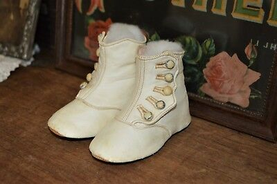 Cute Antique Leather White High Button Baby or Doll Shoes Boots Leaf Stamp 4.5""