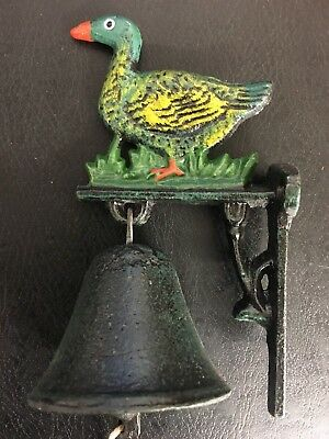 Wall Mount Cast Iron Dinner Bell - Painted Duck / Goose